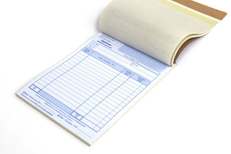 invoice book with open blank page