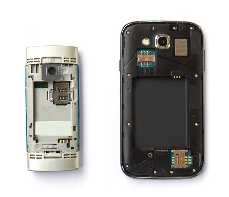 Two of mobile phone which different of technology photo