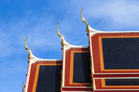 gable: Gable and roof temple in Bangkok, Thailand Stock Photo