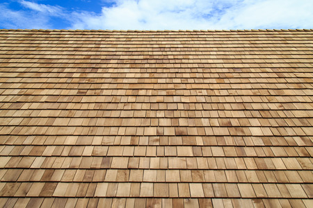 Wooden roof Shingle texture Banco de Imagens