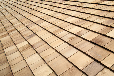 Wooden roof Shingle texture Stock Photo