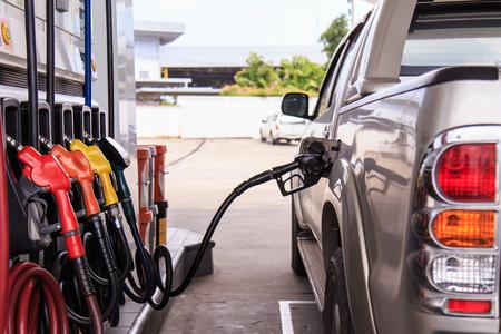 refuel: Close up car refuel Stock Photo