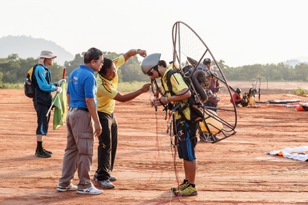 PHUKET,THAILAND - SEPTEMBER 16: unidentified competitor of the 4th Asian Beach Game Test Event for Paramotor on September 15, 2014 in Phuket,Thailand