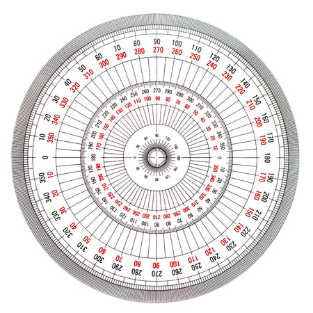 protractor: Full-Circle protractor isolated on white background Stock Photo