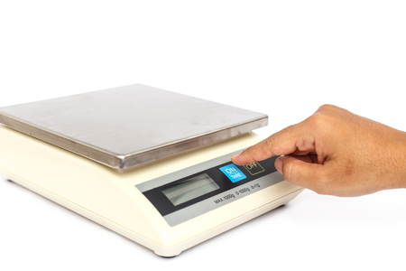 grams: Digital scales isolated on white background Stock Photo