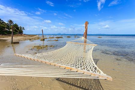 hammock between on tropical beach in Koh Samui