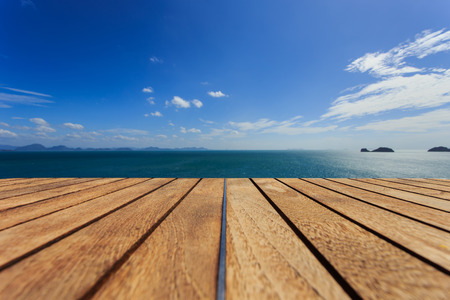 Wood platform beside the sea. Stock Photo
