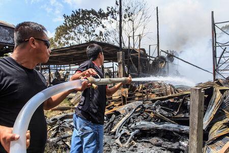 Phuket, THAILAND OCT 16: Fire in Superstore - catch fire in Super Cheap (Big Superstore in Phuket) Substantial damage on October 16, 2013 in Phuket, Thailand