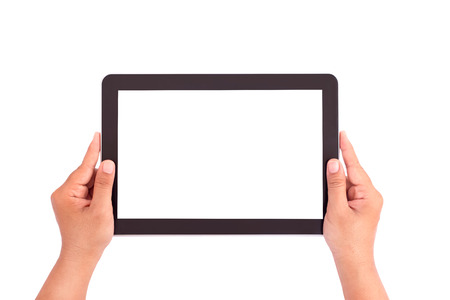 Hand holding tablet on white background