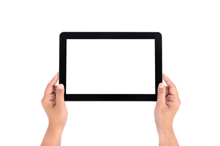 Hand holding tablet photo