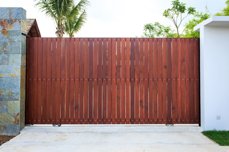 wood fence: Wooden gate