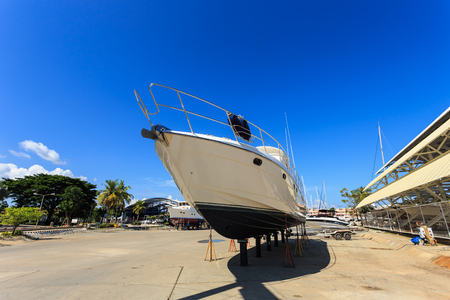 beached: Luxury yacht beached for annual service and repair