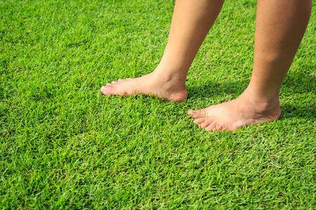 foot step: Passo piede sul prato verde