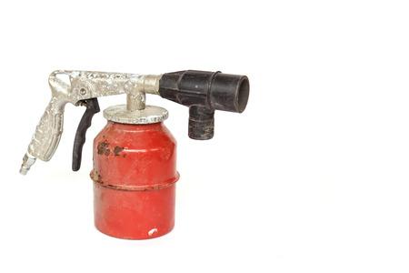 paint gun: Old paint spray gun isolated on white background