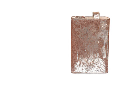 Rusty metal can isolated on white background photo