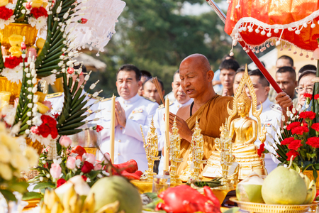 thai monk: HUAHIN, THAILAND - DECEMBER 27, 2014 – Thai monk chant for ceremony in wat huay mongkhon celebration ceremony for new year on Dec 27, 2014 at huahin province, prachuap khiri khan, thailand
