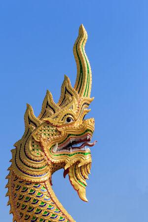 Dragon, Naga , Big snake statue in Temple photo