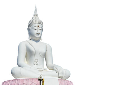 Big white buddha statue and blue sky in Thailand photo
