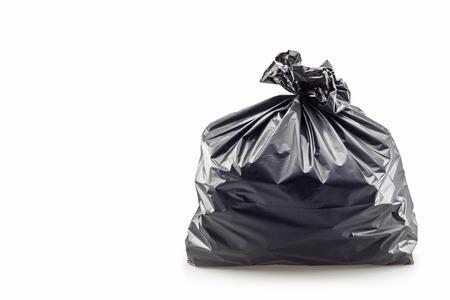 basura: Cerca de una bolsa de basura en el fondo blanco Foto de archivo