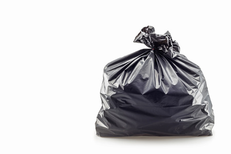 garbage: Close up of a garbage bag on white background Stock Photo