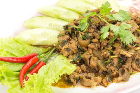 Laap Moo, Traditional Thai food, spicy minced pork salad photo