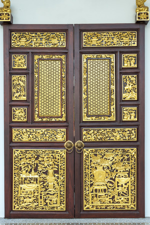 Close up traditional Chinese style wooden door