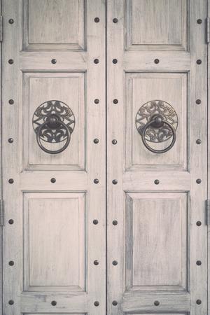 plaster of paris: Close up Grey vintage wooden door