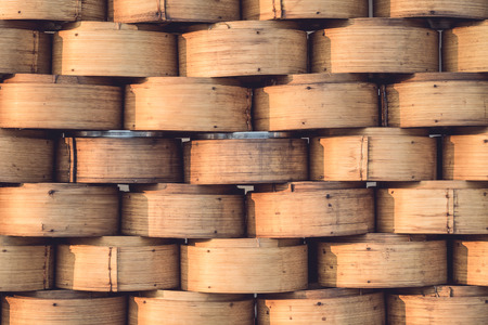 chinese bamboo: Stack of Chinese Bamboo Steamer for Steaming Chinese Food Stock Photo