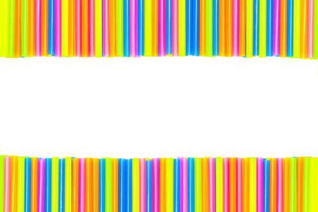 Colorful straw isolated on white background photo