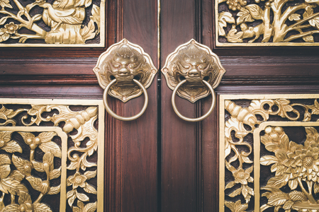 Close up traditional Chinese style wooden door photo
