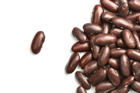 aduki bean: Close up red beans isolated on white background