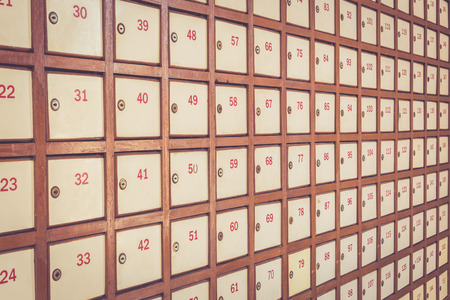 Post box with number, Retro filter effect photo
