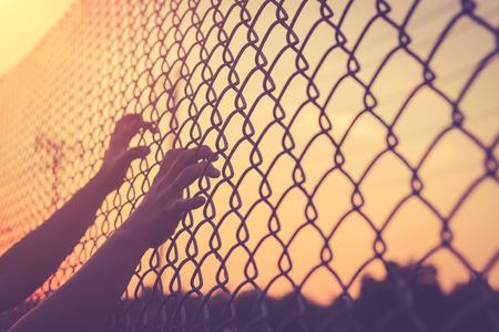 Hand, die auf Maschendrahtzaun, Jahrgang Filterwirkung Lizenzfreie Bilder