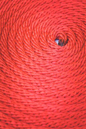 nylon string: Macro Texture of red rope for background Stock Photo