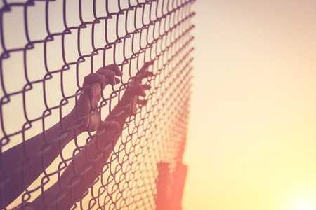 chain fence: Hand holding on chain link fence, Vintage filter effect