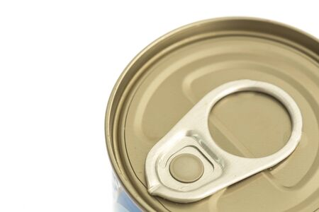 close up food: Close up aluminum canned food isolated on white background Stock Photo