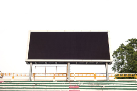 Empty white digital billboard screen for advertising in stadium