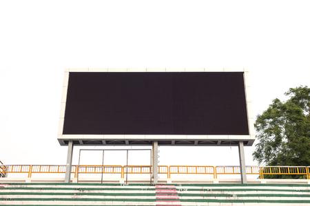 billboard: Empty white digital billboard screen for advertising in stadium