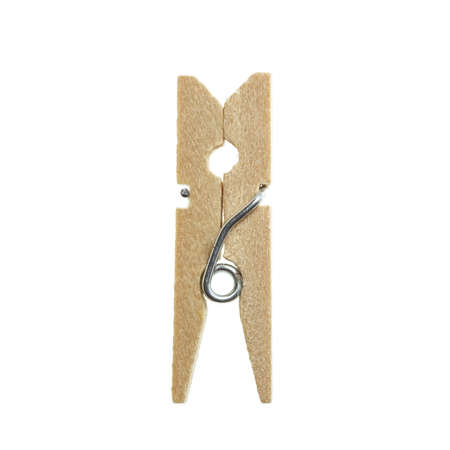 clothes pin: Wooden clothes pin isolated on white background