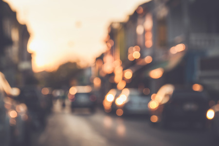 Blurred : Blur of car and old town with bokeh in Phuket, Thailand