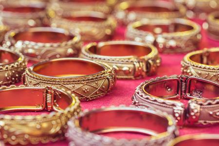 bangle: Close up old thai style handmade bangle in thailand