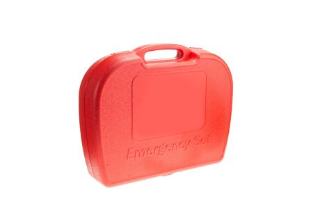 emergency vest: Red box of emergency set for car isolated on white background