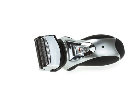 electric shaver: Close up mens black electric shaver isolated on white background