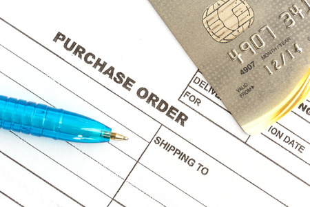 Close up purchase order with credit card in the office photo