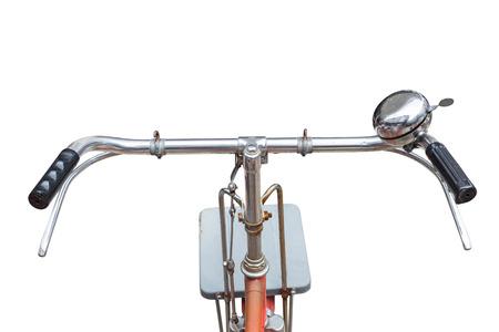 bicicleta: Parte Fornt de bicicleta vintage. Vista desde motoristas ojos aisladas sobre fondo blanco Foto de archivo