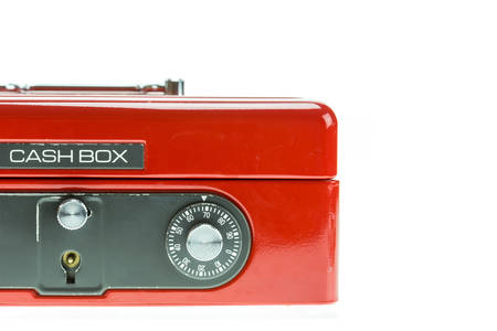 cash box: Close up red metal cash box isolated on white background