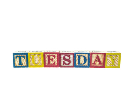 studio b: Tuesday written in letter colorful alphabet blocks isolated on white background Stock Photo