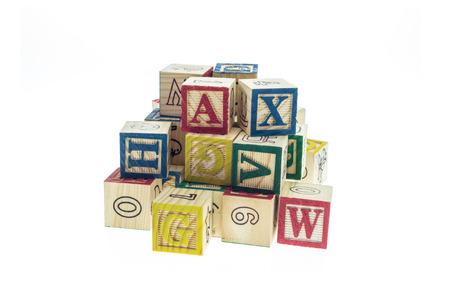 studio b: Stack of colorful alphabet blocks isolated on white background