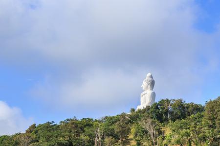 big buddha: Big white buddha statue on the mountain in Phuket, Thailand