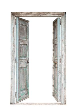 Style rétro porte en bois gris isolé sur fond blanc Banque d'images - 42582218